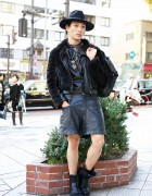 Japanese Stylist in Black Leather w/ Givenchy Bag & Gareth Pugh Boots