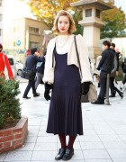 Vintage Style Dress, Cardigan, Bucket Bag & Loafers in Harajuku