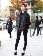 Harajuku Model w/ Short Red Hair, Comme des Garcons & Peep Toe Heels