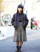 Bomber Jacket, Houndstooth Midi Skirt, Fishnets & Boots in Harajuku
