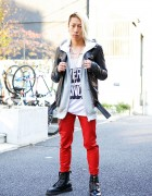 Very Fancy Top, Armor Rings & Zac Vargas Leather Jacket in Harajuku