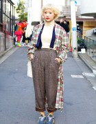 Short Blonde Hair w/ Plaid, Suspenders & Retro Sneakers in Harajuku
