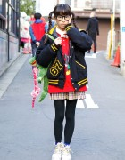 Kyary Pamyu Pamyu Fan w/ Cute Twintails, Varsity Jacket & 6%DOKIDOKI Alligator Bag