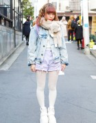 Kawaii Pastel in Harajuku w/ Denim, Plush Muffler, Candy Stripper & Syrup
