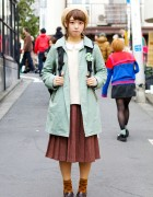 Vintage Style Midi Skirt, Mint Coat & Haruta Loafers in Harajuku