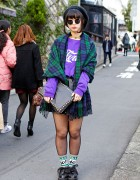 Tartan Scarf, Round Glasses, Spinns Skirt & Creepers in Harajuku