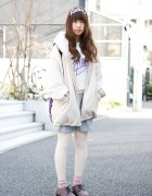 Pastel Outfit w/ Haters Headband & Galaxy Print Backpack in Harajuku