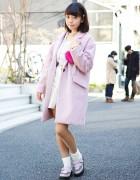 Japanese Idol w/ Cute Pink Coat, Heart Bag & Creepers in Harajuku