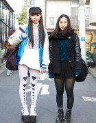 Harajuku Girls in Sukajan Jacket, Platform Sandals, Cowl & Heart Tights