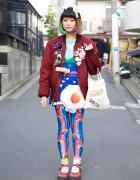 Rainbow Hair w/ Yip Yip Yip Leggings, Fried Egg Bag & Kinji Harajuku Bomber