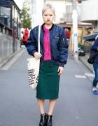 Harajuku Girl w/ Short Hairstyle, Jouetie Bomber Jacket & Midi Skirt