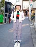 Cherry Sweater, Gingham Pants, Buffalo Platforms & Vintage Coach in Harajuku