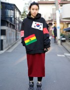 Supreme Flags Hoodie w/ Maxi Skirt, Piercings & Pastel Ponytail