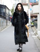 Gothic Harajuku Style w/ Antique Coat, Purple Makeup, Kazuko Ogawa & Alice Auaa