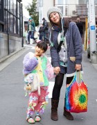 Cute Harajuku Girl with Colorful Coat, Bows & Animal Purse