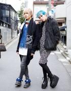 Blue Hair, Faux Fur Coat, Vivienne Westwood & Emoda in Harajuku