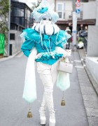 Shironuri Artist Minori in Blue & White w/ Faux Fur, Tassels & Tiny Cat