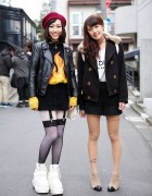 Harajuku Girls in Flame Sweater, Suspender Tights, Chokers & Platform Sneakers