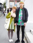 """Keith Haring """"Andy Mouse"""" Print, Green Coat & Bow Headband in Harajuku"""