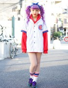 Purple Twin Tails w/ Cubs Baseball Jersey & Fishnet Tights in Harajuku