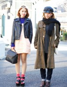 Harajuku Girls w/ Caps, Biker Jacket, Suede Coat & Platform Sandals