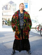 Print Coat Over Zac Vargas Biker Jacket w/ Dr. Martens & Oz Abstract in Harajuku