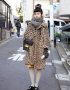 Vintage Leopard Print Coat, Structured Leather Bag & Pointy Bow Flats