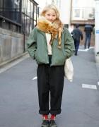 Issey Miyake Jacket w/ Rolled Pants, Red Socks & Dr. Martens in Harajuku