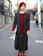 Harajuku Guy in Black & Burgundy w/ Nano Universe Blazer, Ambush & MCM