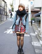 Resale Budweiser Dress, Acid Wash Jacket & Platform Sneakers in Harajuku