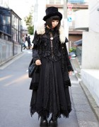 All Black h.NAOTO Style w/ Velvet Hat, Maxi Skirt, Doctor Bag & Platform Boots