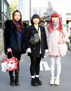 Harajuku Girls in Jouetie Coats w/ Fig & Viper, Pink Twin Tails & Cat Bag