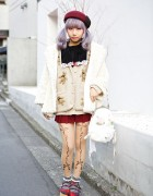 Lilac Hair in Twin Tails w/ Dazzlin Coat & Teddy Bear Cardigan in Harajuku