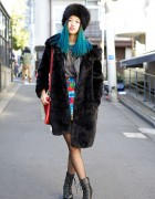 Blue Ombre Hair, Faux Fur Coat & Spiked Necklace in Harajuku