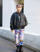Lilac Twin Buns Hairstyle, Jeremy Scott & Mang King Fung Bomber in Harajuku