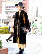 Qosmos Staffer w/ Vintage Fur Coat, Hat & Fringe Bag in Harajuku