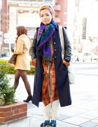 Maxi Coat & Plaid Shirt w/ Denim Bag & WhoWhat Pants in Harajuku