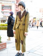 Handmade Tweed Suit w/ Knee Patches & Dr. Martens in Harajuku