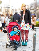 Harajuku Mother & Child w/ Galaxxxy Strawberry Print & Candy Stripper Pandas