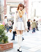 Pastel Mini Skirt, Knee Socks & Tsumori Chisato Backpack in Harajuku