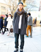 A.P.C. Coat, N.Hoolywood Jeans, Supreme & Vans in Harajuku