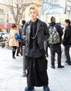 Black Layered Outfit w/ Biker Jacket & Comme des Garcons Platform Shoes in Harajuku