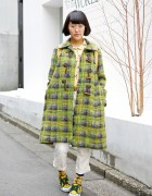 Tartan Coat, Floral Socks & Round Glasses in Harajuku