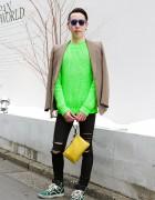 Neon Kenzo Sweater w/ Julius Blazer, Jil Sander Clutch & Lanvin Sneakers