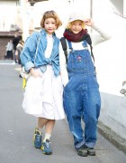 Twin Sisters Naru and Nari in Harajuku w/ Resale Denim & Cute Hairstyles