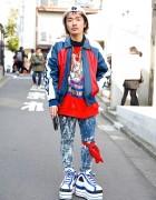 Platform Fila Sneakers, Acid Wash, Pin Nap Vintage & Chanel in Harajuku