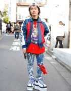 Platform Fila Sneakers, Acid Wash, Pin Nap Vintage & Chanel in Harajuku