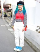 Harajuku Girl w/ Blue Twin Tails in Spinns Bustier, Checkered Top & Cute Sneakers