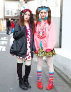 Harajuku Sisters w/ Twin Tails, Tiger Backpacks & Cherry Print
