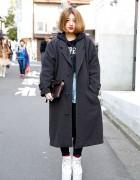 Dimepiece LA Hoodie, Alexander Wang Clutch & YRU Flatforms in Harajuku